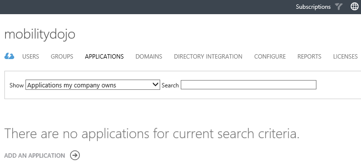 Azure Portal -  Empty Applications list