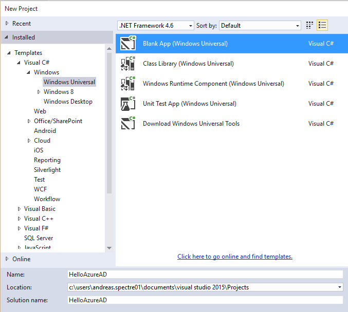 how to create ac project in visual studio