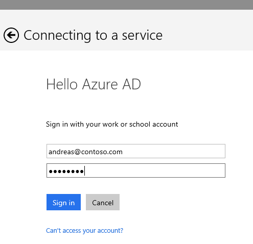 HelloAzureAD Login page