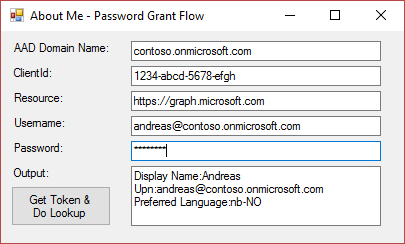 About Me Password Grant Flow